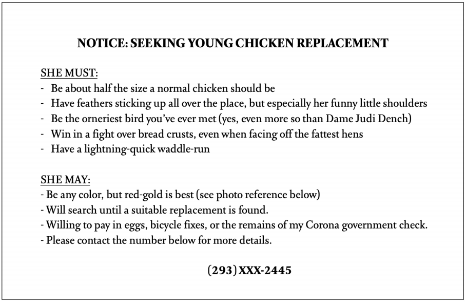 chicken notice